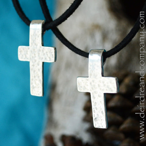 Trust More Sterling Silver Cross Necklace
