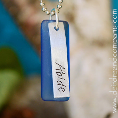 "Abide Necklace with ""Sea"" Glass"