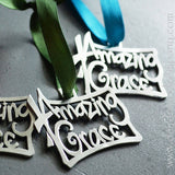 Amazing Grace Ornament in Pewter