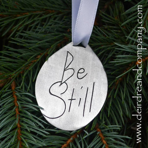 Christmas Be Still Pewter Ornament