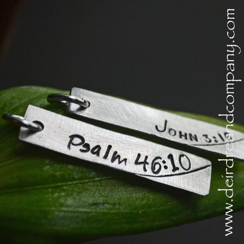 Hand-Stamped Bible Verse Bar Charm, Customizable
