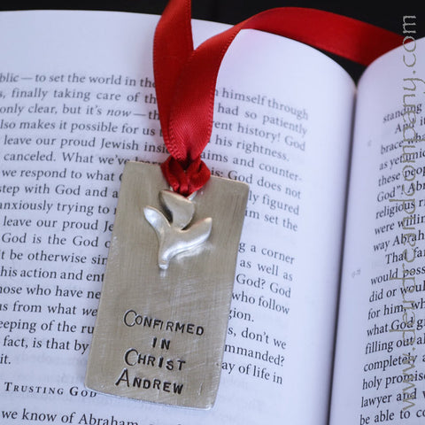 Sacraments Confirmation Bookmark in Pewter