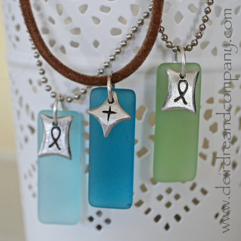 "Tiny Cross and Ichtus Necklaces with Recycled ""Sea"" Glass"
