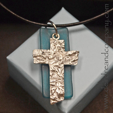 "Rugged Cross Necklace with Recycled ""Sea"" Glass ~ I"