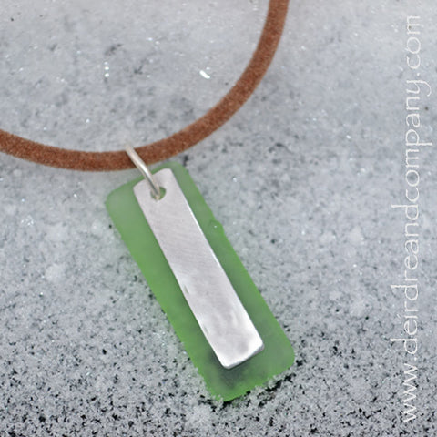 "Custom Word Necklace with Recycled ""Sea"" Glass ~ Blank Charm"