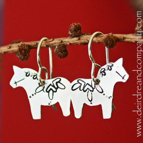 Dala Horse Earrings in Sterling Silver