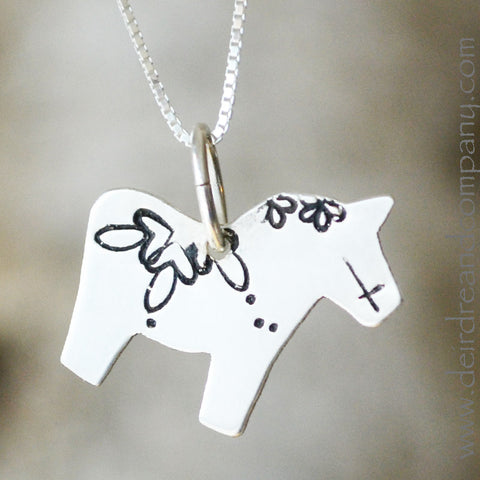 Dala Horse Necklace in Sterling Silver