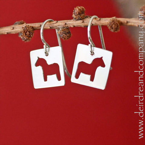 Dala Horse Cut-Out Earrings in Sterling Silver