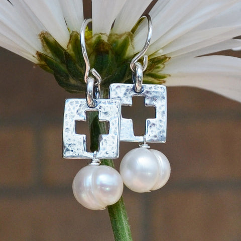 Be Amazed Sterling Cross Earrings with Pearl