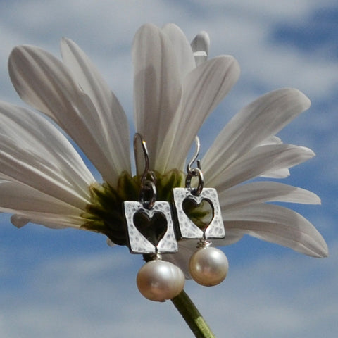Live with an Open Heart  Earrings with Pearls in Sterling