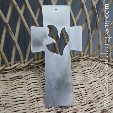 Dove Cross Wall Hanging in Stainless Steel