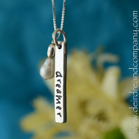 Dreamer Blessing Bar Necklace in Sterling Silver