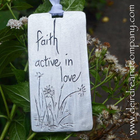 Faith Active in Love Pewter Ornament