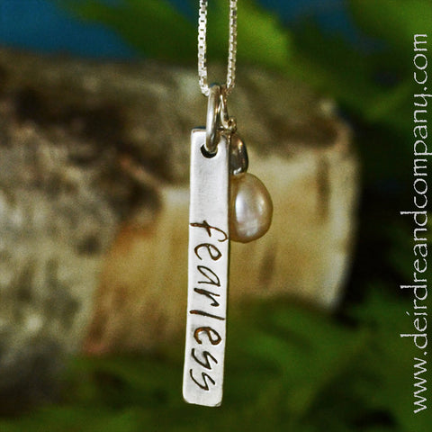 Fearless Blessing Bar Necklace in Sterling Silver