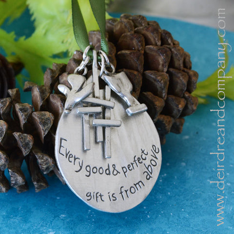 Faith Journey Marker Engraved Ornament Set in Pewter ~ Small