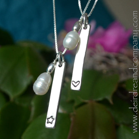 Hearts and Stars Blessing Bar Necklaces in Sterling Silver
