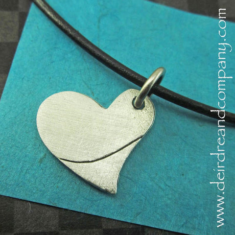 Heart Necklace in Pewter, Customizable