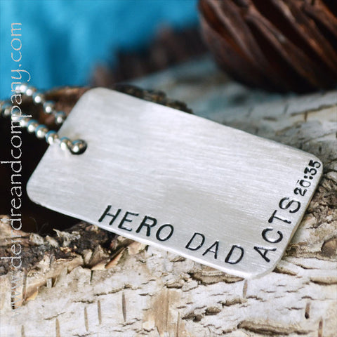 HERO DAD Dog Tag in Pewter