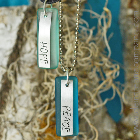 "Hope and Peace Necklaces with ""Sea"" Glass"