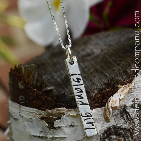 The Island Blessing Bar Necklace in Sterling Silver