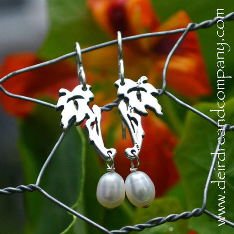 Silver Leaves Earrings with Pearls