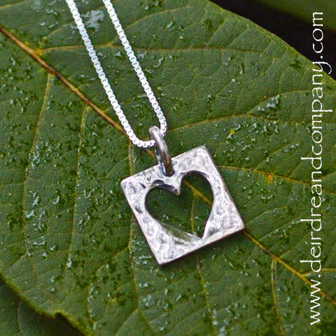 Live with an Open Heart Sterling Silver  Necklace