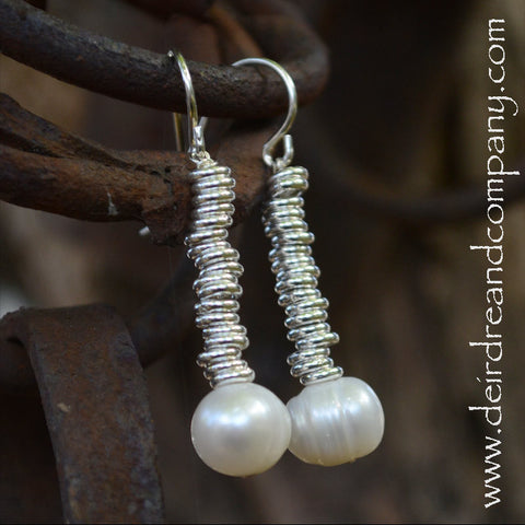 Long Pond Pearl Earrings in Sterling
