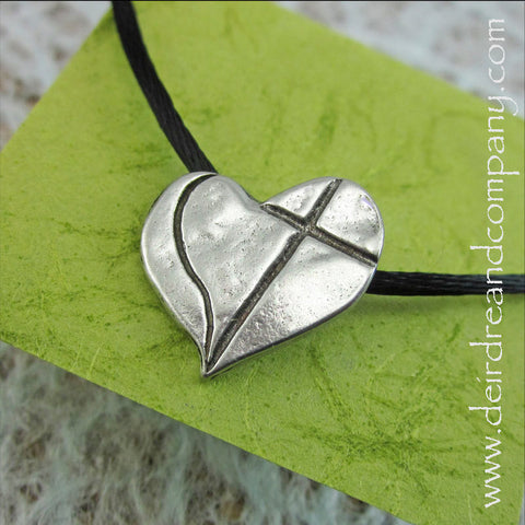 Love Cross Heart Pendant in Pewter on Satin Cord
