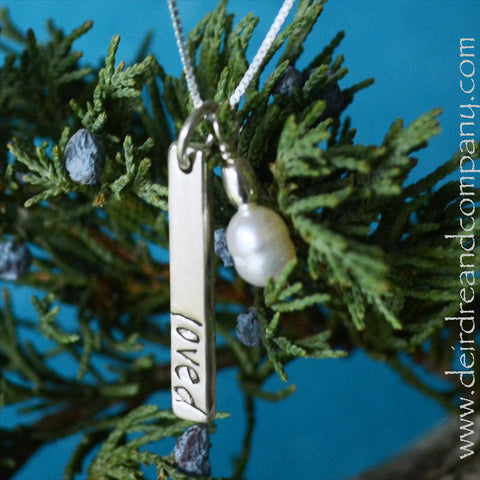 Loved Blessing Bar Necklace in Sterling Silver