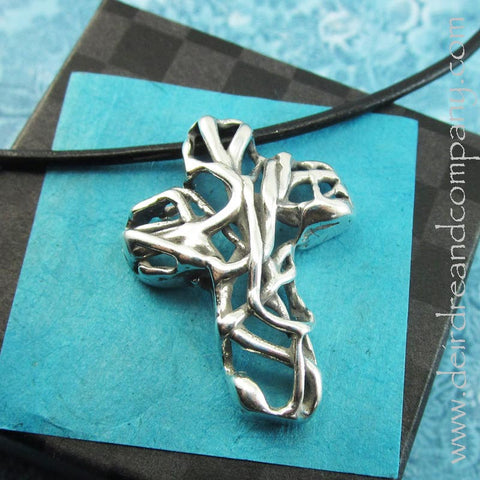 Mexico Cross Pendant in Sterling Silver on Leather