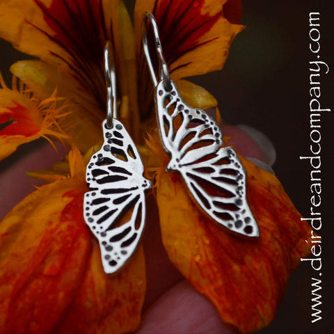 Monarch Butterfly Earrings in Sterling Silver