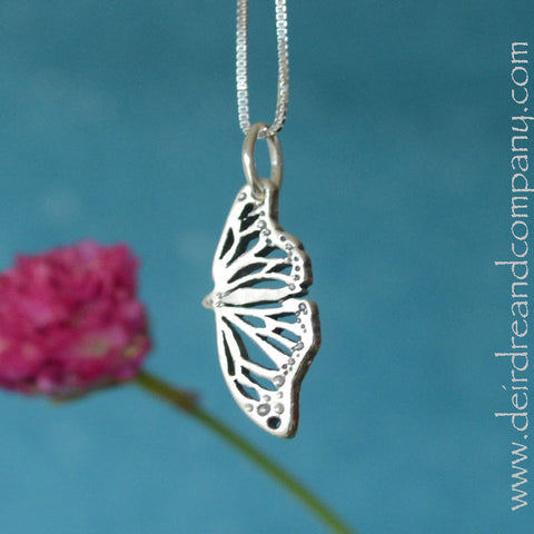 Monarch Butterfly Pendant Necklace in Sterling Silver
