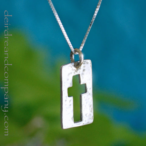 Narrow Road Cross Necklace in Sterling