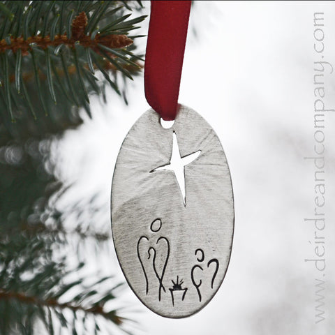 Nativity Ornament in Pewter
