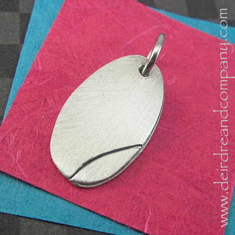 Oval Charm in Pewter, Customizable