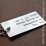 I Can Do All Things Dog Tag Key Chain in Pewter