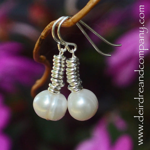 Little Pond Pearl Earrings in Sterling Silver with Freshwater Pearl