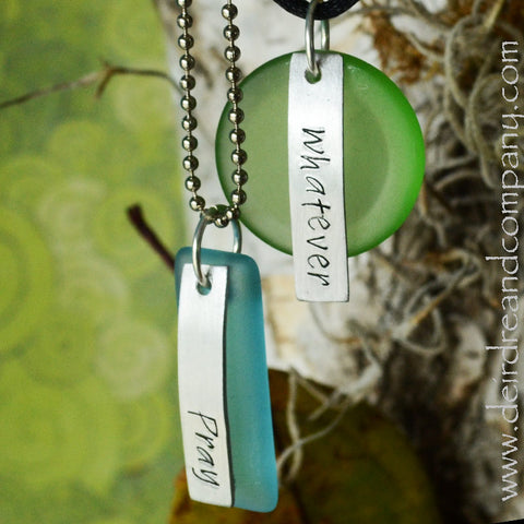 "Pray and Whatever Necklaces with ""Sea"" Glass"