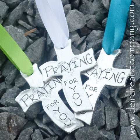 Praying for You Ornament in Pewter