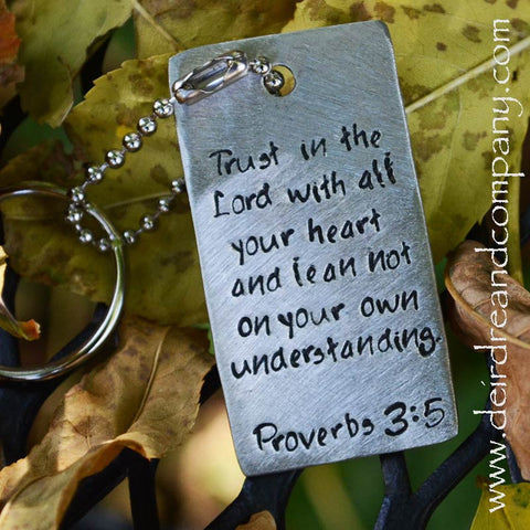 Proverbs 3:5 Dog Tag Key Chain