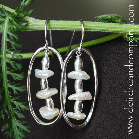 Rain Chain Sterling Silver and Pearl Earrings