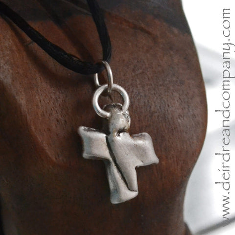 Sacraments Cross Necklace in Pewter
