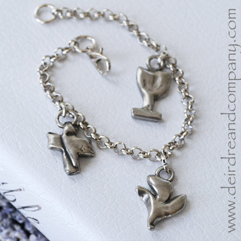 Sacraments Charm Bracelet with 3 Pewter Charms