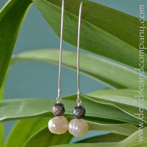 Salt and Pepper Pearl Earrings