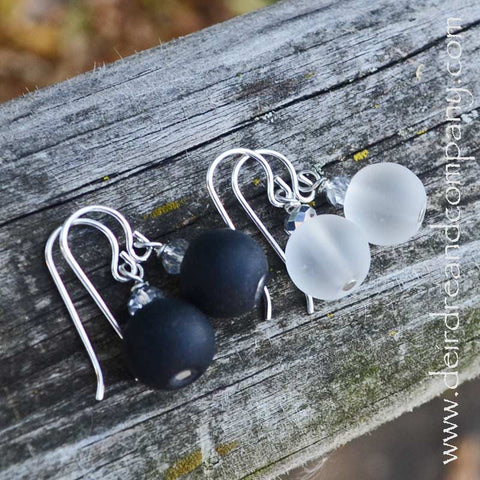"""Sea"" Glass Earrings ~ Midnight, Translucent"