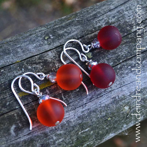 """Sea"" Glass Earrings ~ Orange, Red"