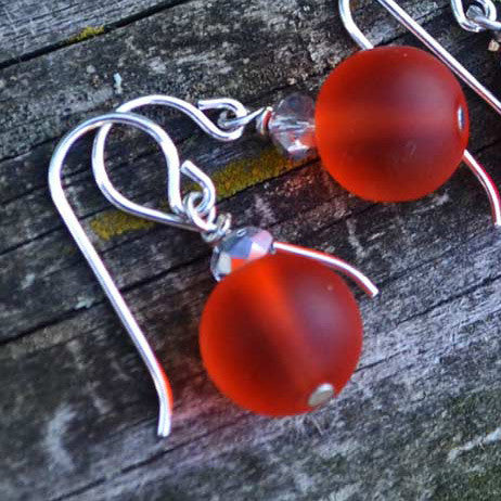"Orange ""Sea"" Glass Earrings"