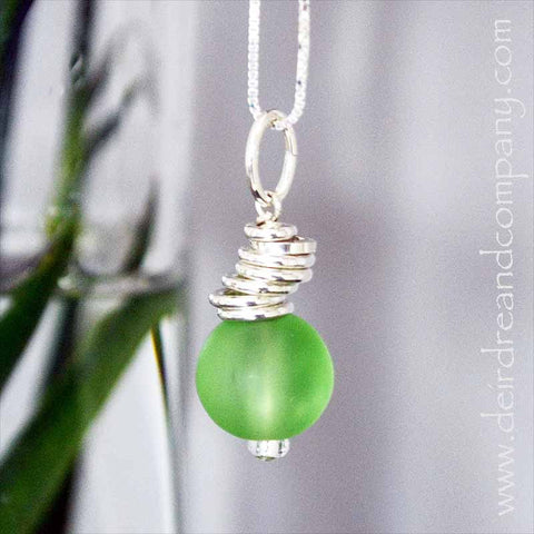 "Cascade Necklace in Sterling with ""Sea"" Glass"