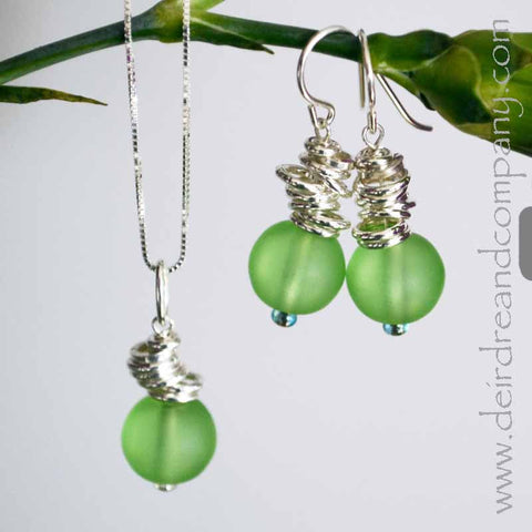 Cascade Recycled Glass and Sterling Necklace & Earrings Set