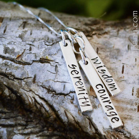 Serenity Prayer Blessing Bar Necklace in Sterling